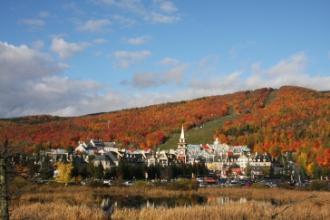 Looking out at the Mont-Tremblant village