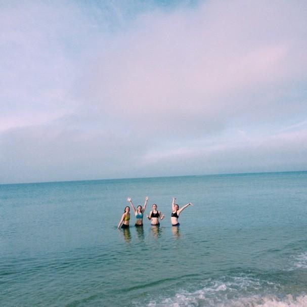 Girls in Ocean After Run